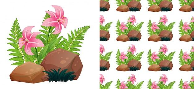 Modèle sans couture avec des fleurs de lys rose sur des pierres
