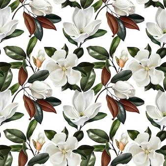 Modèle sans couture avec des fleurs de magnolias réalistes botaniques