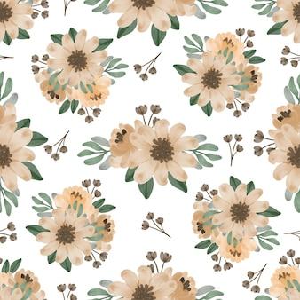 Modèle sans couture de fleurs marron clair