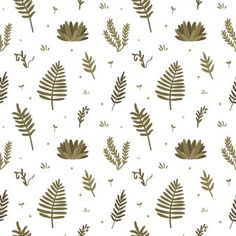 Modèle sans couture avec des fleurs mignonnes, des plantes et d'autres éléments de la nature en style cartoon plat.