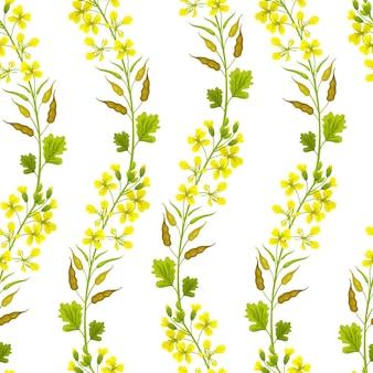 Modèle sans couture de fleurs moutarde
