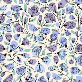 Modèle sans couture avec fleurs et oiseaux
