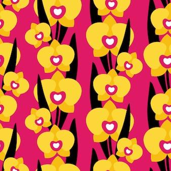 Modèle sans couture avec des fleurs d'orchidées sur fond rose.