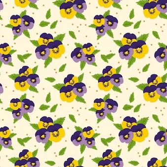 Modèle sans couture de fleurs pansy coloré. concept de fleur douce.