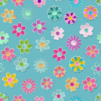 Modèle sans couture de fleurs en papier de différentes couleurs avec des ombres