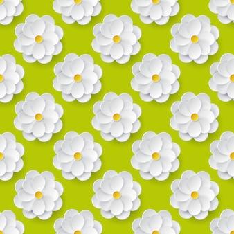 Modèle sans couture avec des fleurs en papier.