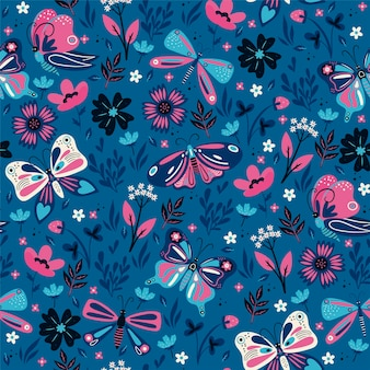 Modèle sans couture avec fleurs et papillons roses et bleus.