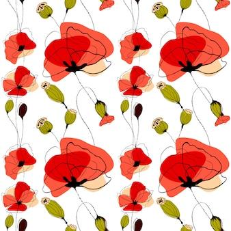 Modèle sans couture de fleurs de pavot et capsules