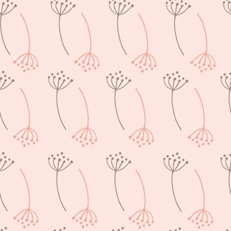 Modèle sans couture avec des fleurs de pissenlit de contour.