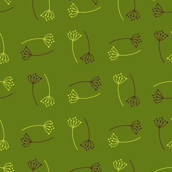 Modèle sans couture avec des fleurs de pissenlit doodle
