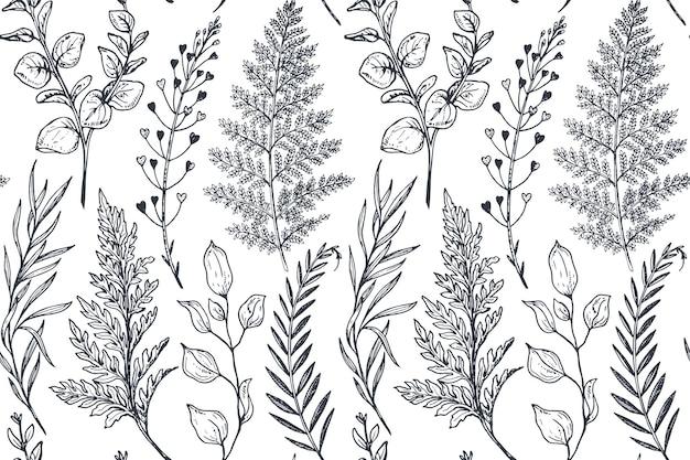 Modèle sans couture avec fleurs et plantes dessinées à la main dans le style de croquis. fond de nature sans fin monochrome.