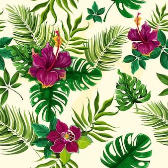 Modèle sans couture de fleurs de plantes tropicales