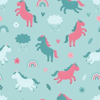 Modèle sans couture de fleurs de pluie de nuage arc-en-ciel de licornes mignonnes