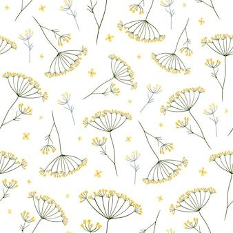 Modèle sans couture de fleurs de prairie avec des plantes d'été