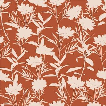 Modèle sans couture de fleurs de prairie silhouette rétro