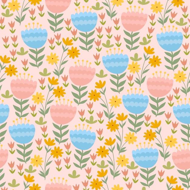 Modèle sans couture avec fleurs printanières mignonnes.