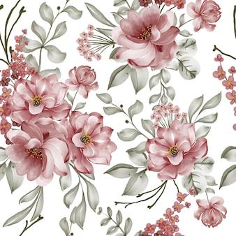 Modèle sans couture avec fleurs de printemps vintage et feuilles