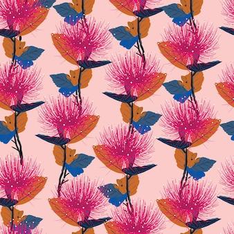 Modèle sans couture avec des fleurs roses dessinées à la main