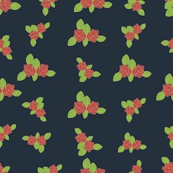 Modèle sans couture de fleurs de roses avec des feuilles