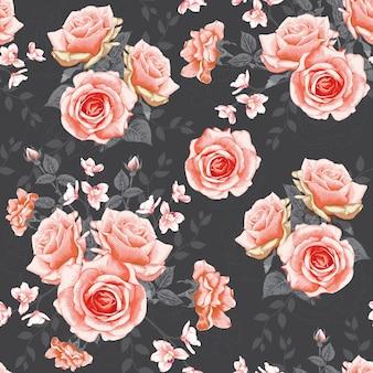 Modèle sans couture avec fleurs roses