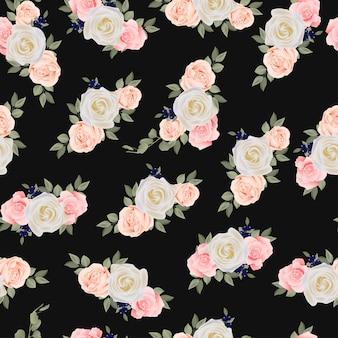 Modèle sans couture avec des fleurs roses