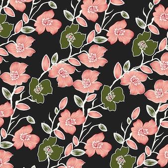 Modèle sans couture avec fleurs roses.