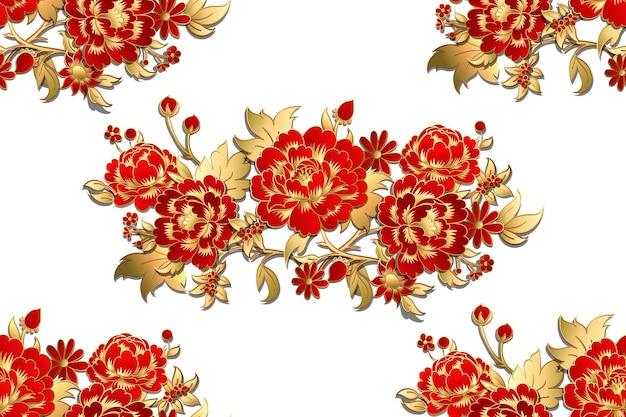 Modèle sans couture avec des fleurs rouges avec des feuilles d'or