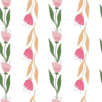 Modèle sans couture de fleurs sauvages de fleurs isolé sur fond blanc.