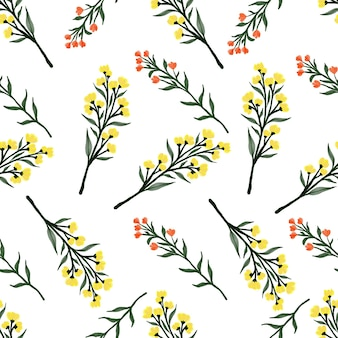 Modèle sans couture de fleurs sauvages jaunes et oranges pour le design textile