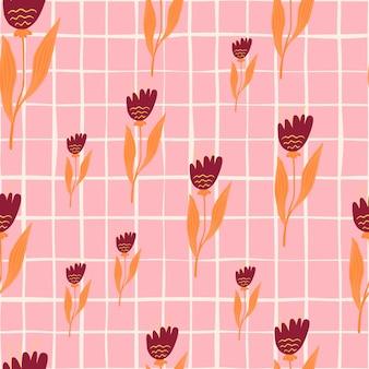 Modèle sans couture de fleurs sauvages modernes sur fond rétro.