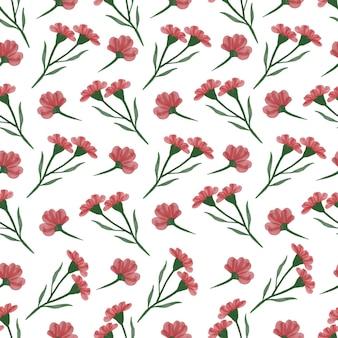 Modèle sans couture de fleurs sauvages rouges