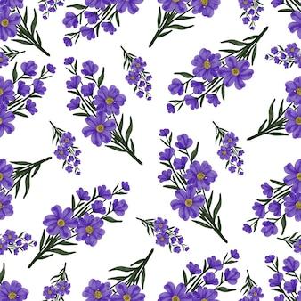 Modèle sans couture de fleurs sauvages violettes