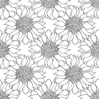 Modèle sans couture de fleurs de tournesol dans les couleurs noir et blanc. papier peint monochrome. illustration vectorielle