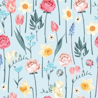 Modèle sans couture avec des fleurs vintage sur fond bleu clair