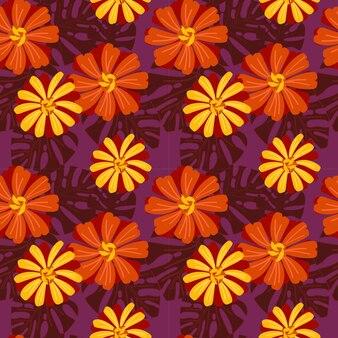Modèle sans couture de fleurs vives zinnia.