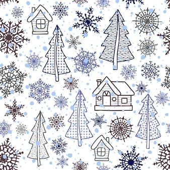 Modèle sans couture, flocons de neige, arbres de noël et maisons, fond de vecteur d'hiver