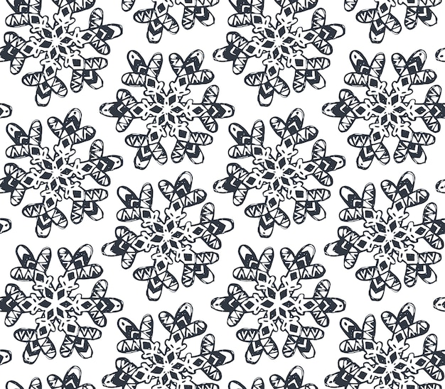 Modèle sans couture avec flocons de neige dessinés à la main
