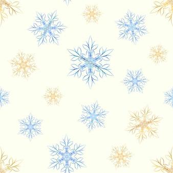 Modèle sans couture de flocons de neige dorés et glacés.