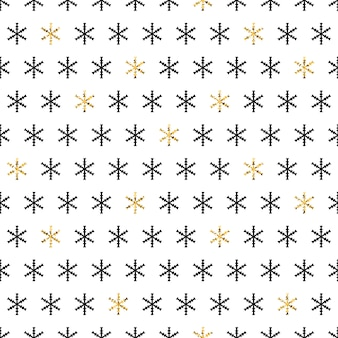 Modèle sans couture de flocons de neige d'or.