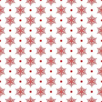 Modèle sans couture de flocons de neige et de points, rouge sur blanc