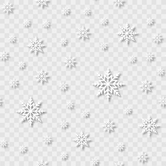 Modèle sans couture avec des flocons de neige tombant sur fond transparent. vecteur.