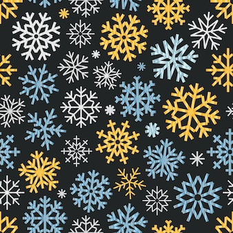 Modèle sans couture de flocons de neige de vecteur différent. ornement de cristal de glace de vecteur