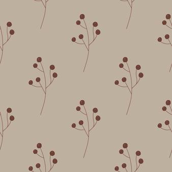 Modèle sans couture de floraison avec ornement simple de baies brunes