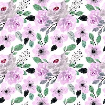 Modèle sans couture floral aquarelle doux pourpre et vert