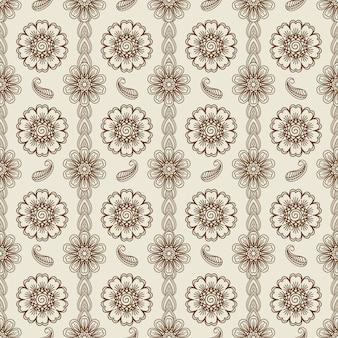 Modèle sans couture floral au henné
