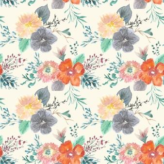 Modèle sans couture floral de brunchs pastel vintage peint à la main
