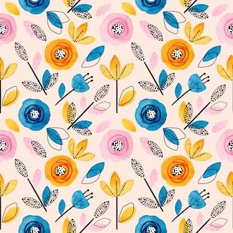 Modèle sans couture floral coloré et feuilles