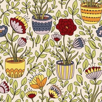Modèle sans couture floral de dessin animé avec pot de fleur
