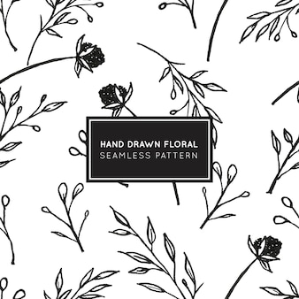 Modèle sans couture floral dessiné main beauté