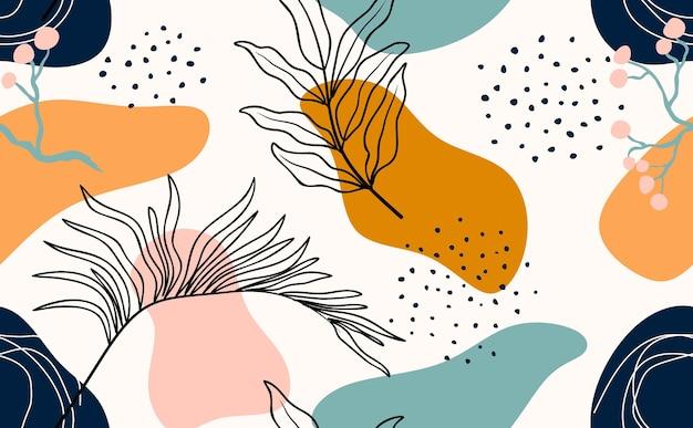 Modèle sans couture floral dessiné main